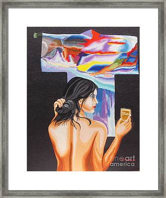 A Look Into The Past Hand Embroidery Framed Print by To-Tam Gerwe