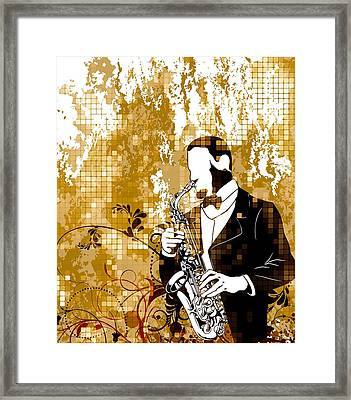 Framed Print featuring the digital art A Love For Sax by Stanley Mathis