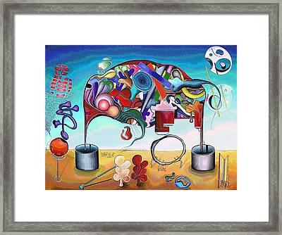 A Love Story/abstraction Of An Elephant Enhanced  Framed Print by George Curington