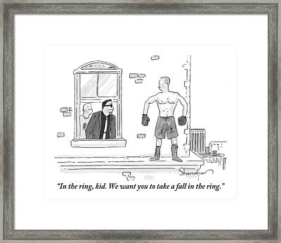 A Mafioso Is Seen Leaning Out Of A Window Talking Framed Print by Danny Shanahan