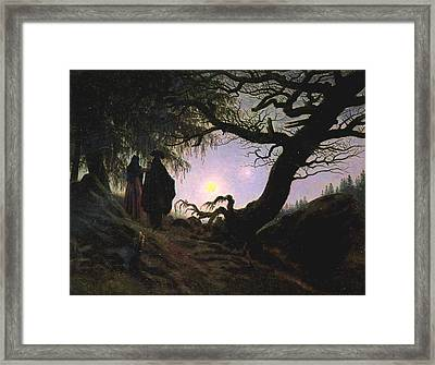 a Man and a Woman Contemplating the Moon Framed Print by Philip Ralley