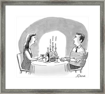 A Man And A Woman Sharing A Bottle Of Wine Framed Print by Joe Dator