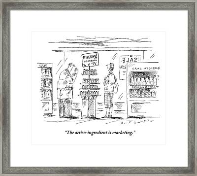 A Man And A Woman Stand At A Store Display That Framed Print by Barbara Smaller