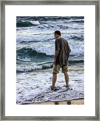 a Man and the Sea Framed Print by Ginette Callaway