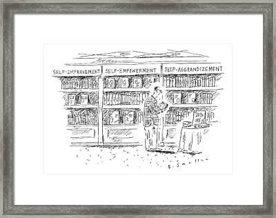 A Man At A Bookstore Stands Near Three Shelves: Framed Print by Barbara Smaller