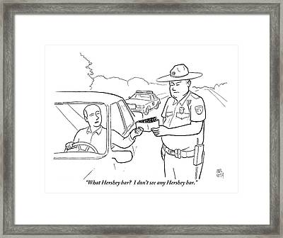 A Man Attempts To Bribe A Traffic Police Officer Framed Print by Paul Noth
