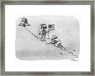 A Man Crawls Uphill Towards An Astronaut With An Framed Print by Joe Dator