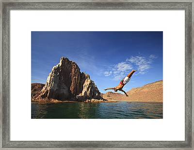 A Man Dives Into The Water Off Espiritu Framed Print by Stuart Westmorland