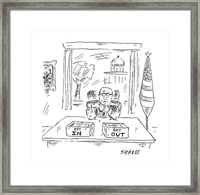A Man Dressed In Military Commander Uniform Sits Framed Print by David Sipress