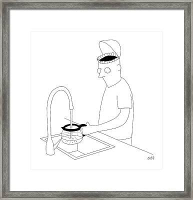 A Man Filling Up His Coffee Pot Framed Print by Seth Fleishman