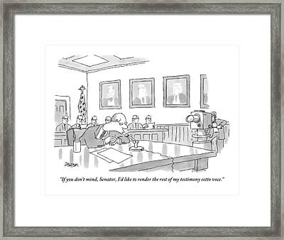 A Man Giving Testimony At A Government Hearing Framed Print by Jack Ziegler