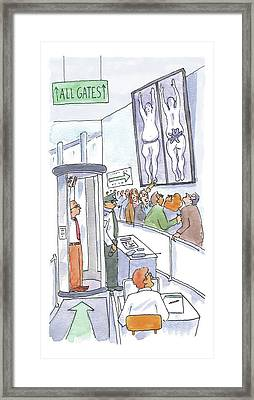 A Man Is Is Held Up By Airport Security Framed Print by Michael Crawford