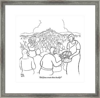 A Man Is Passing Out Loaves And Fish To A Large Framed Print by Paul Noth