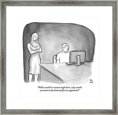 A Man Is Sitting At A Desk Looking At A Computer Framed Print by Paul Noth