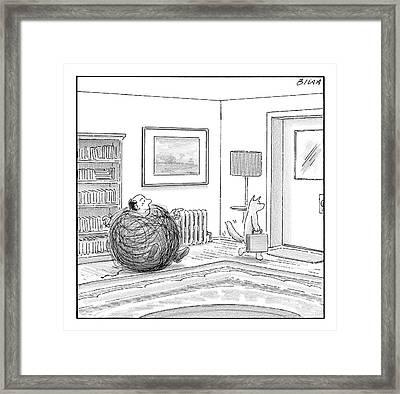 A Man Is Stuck In A Yarn Ball And His Cat Leaves Framed Print by Harry Bliss