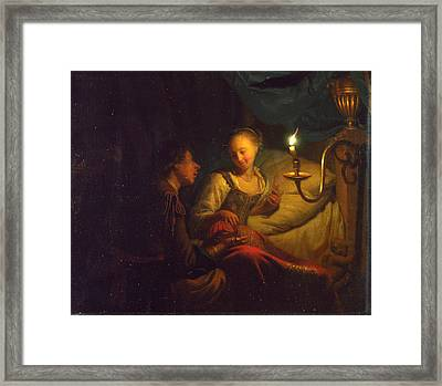 A Man Offering Gold And Coins To A Girl Framed Print by Godfried Schalcken
