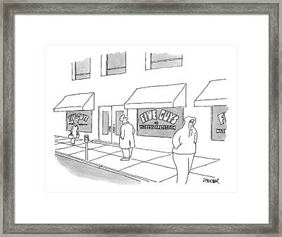 A Man On The Sidewalk Notices The Storefront Framed Print by Jack Ziegler
