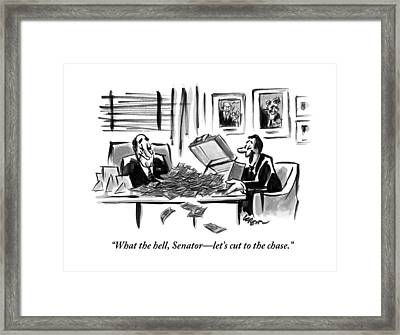 A Man Opens A Briefcase Full Of Cash Framed Print by Lee Lorenz