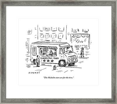 A Man Operating A Food Truck Speaks To A Customer Framed Print by David Sipress