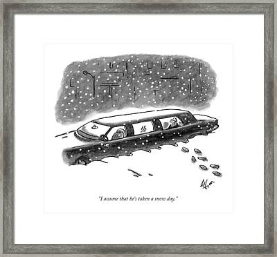 A Man Sits In The Backseat Of A Driverless Framed Print by Frank Cotham