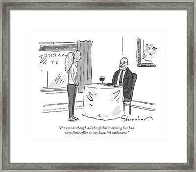 A Man Speaks To A Waitress Framed Print by Danny Shanahan