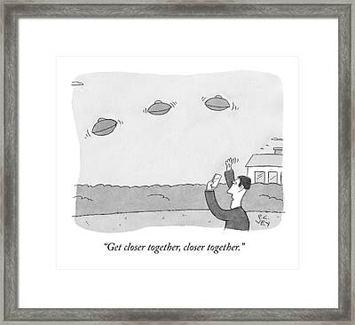 A Man Takes A Picture Of Ufo's Framed Print by Peter C. Vey