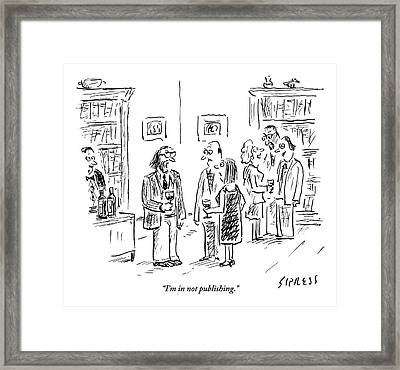 A Man Talks To A Couple At A Cocktail Party Framed Print by David Sipress