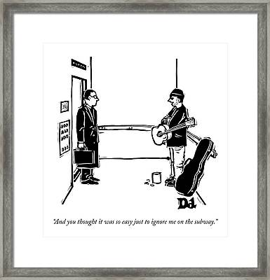 A Man With A Guitar And Open Guitar Case Stands Framed Print by Drew Dernavich
