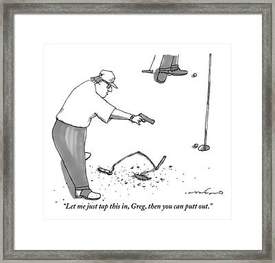 A Man With A Handgun Is Talking And Aiming Framed Print by Michael Crawford
