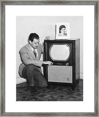 A Man With His Tv Framed Print by Underwood Archives