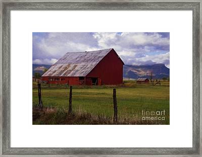 A Mancos Valley Barn Framed Print by Priscilla Burgers