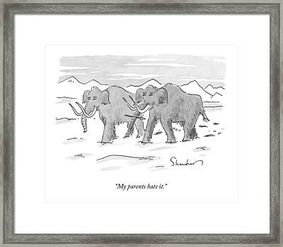 A Mastodon With A Spear In Its Nose Like Framed Print by Danny Shanahan