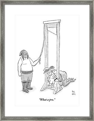 A Medieval Executioner Is About To Behead A Court Framed Print by Paul Noth