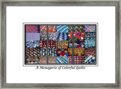 A Menagerie Of Colorful Quilts Triptych Framed Print by Barbara Griffin