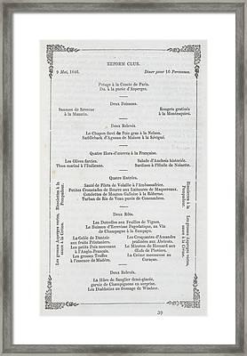 A Menu Framed Print by British Library