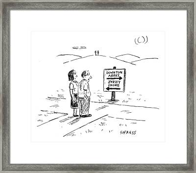 A Middle-aged Couple Stand At A Road Sign Framed Print by David Sipress