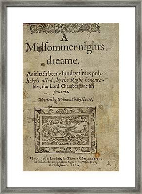A Midsummer Night's Dream Framed Print by British Library
