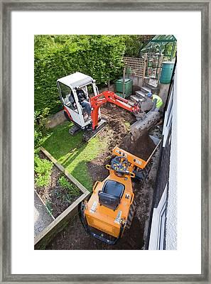 A Mini Digger And Mini Dumper Truck Framed Print by Ashley Cooper