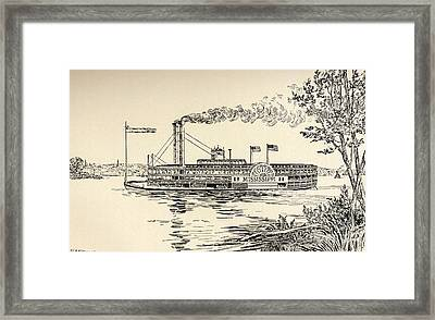 A Mississippi Steamer Off St Louis From American Notes By Charles Dickens  Framed Print by EH Fitchew
