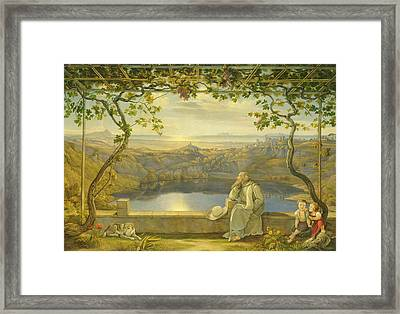 A Monk On A Terrace At The Nemi Lake Framed Print by Joachim Faber