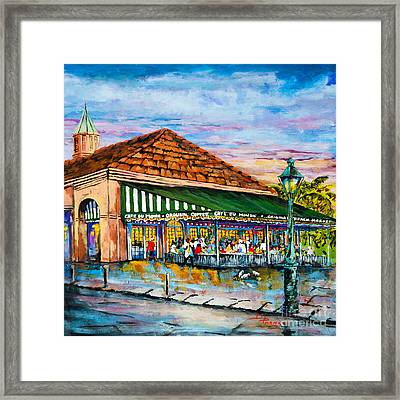 A Morning At Cafe Du Monde Framed Print by Dianne Parks