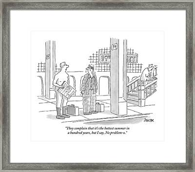 A Naked Businessman Speaks To A Sweaty Man Framed Print by Jack Ziegler