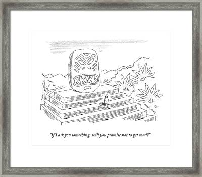 A Native Kneels Before An Angry-looking Pagan Framed Print by Mick Stevens