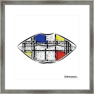 A Neoplasticism Tattoo On Lips Framed Print by Ed Hernandez