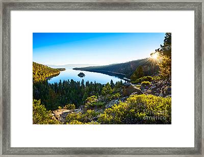 A New Day Over Emerald Bay Framed Print by Jamie Pham