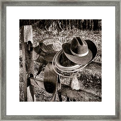 A New Workday For The Cowboy Framed Print by Olivier Le Queinec