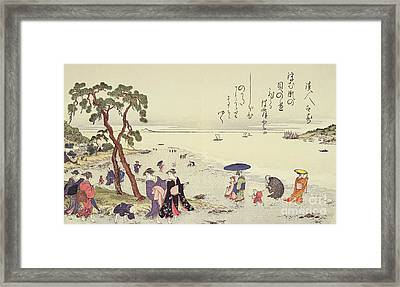 A Page From The Gifts Of The Ebb Tide Framed Print by Kitagawa Utamaro