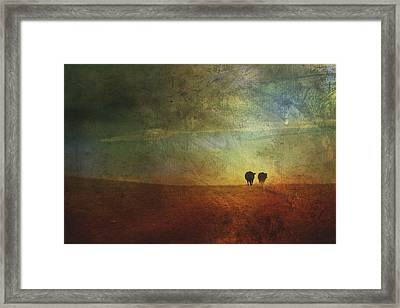 A Painterly Image Of Two Cows Walking Framed Print by Roberta Murray
