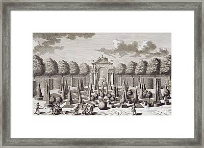 A Parterre With Orange Trees In The Garden Of The Lichtenstein Palace Framed Print by Salomon Kleiner