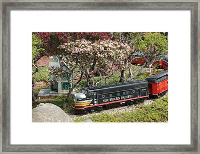 A Passenger Train Passes By Farm House Framed Print by Linda Brody